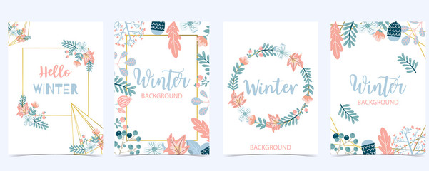 Wall Mural - Collection of winter background set with wreath,flower,leaves.Editable vector illustration for birthday invitation,postcard and website banner
