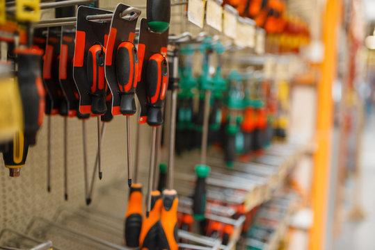 Hardware store assortment, shelf with screwdrivers