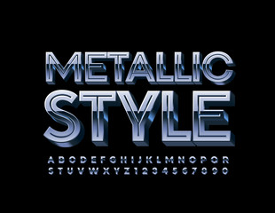 Vector Metallic 3D Font. Silver Uppercase ALphabet Letters and Numbers