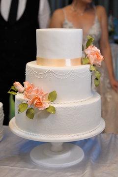 white wedding cake isolated