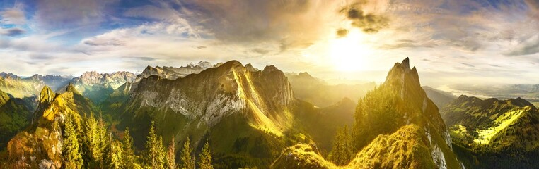 Panoramic view of Swiss Alps at sunset