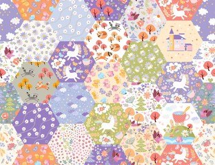 Fairytale patchwork seamless pattern with unicorns and magic forest. Cute print for fabric. Beautiful design for kids.