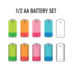 AA Battery size design template. Batteries sizes vector image isolated. Lithium chemical electrical components