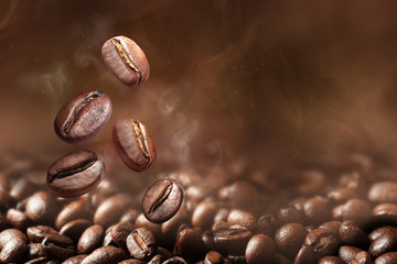 Fotobehang Koffiebonen Roasted coffee beans on grey background, closeup