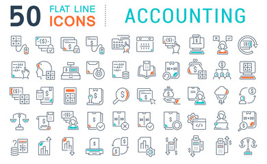 Set Vector Line Icons of Accounting