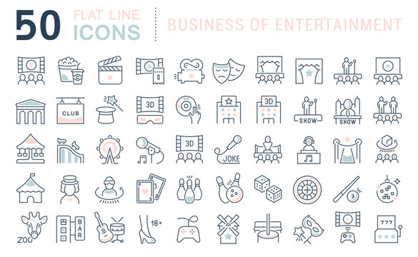 Set Vector Line Icons of Entertainment Business