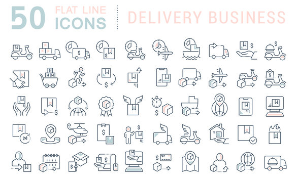 Set Vector Line Icons of Delivery Business