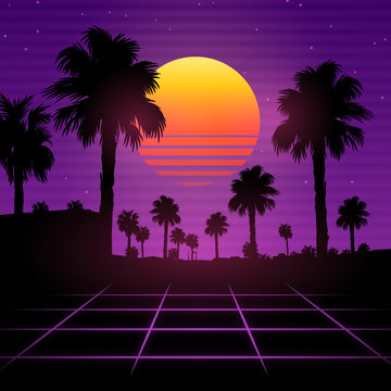Palm background 80 s, 90 s style. Vector landscape of sunset. Image of old, retro, vintage style. Party banner, invitation, flyer, futurism , advertising. Retro disco and dance.