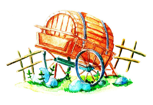 Barrel on the cart, watercolor