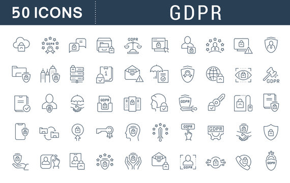 Set Vector Line Icons of GDPR