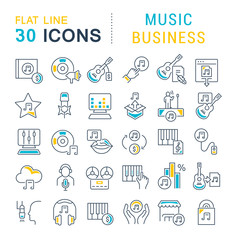 Set Vector Line Icons of Music Business