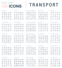 Set Vector Line Icons of Transport