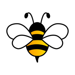 Lovely simple design of a yellow and black bee on a white background