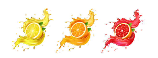 Set fresh grapefruit, lemon, orange juice splashes. Realistic citrus splashing drink Vector