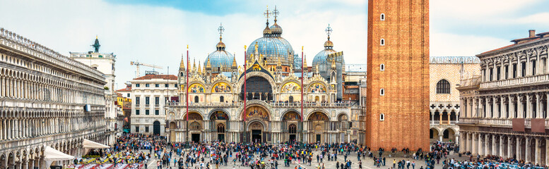 Fototapete - San Marco Square in Venice, Italy. St Mark's Basilica in the center. It is a top landmark of Venice. Panorama of famous tourist place in Venice city and Europe. Renaissance architecture of Venice.