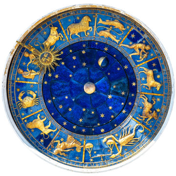 Zodiac wheel and signs of medieval mechanism, isolated on white. Ancient clock detail of Torre dell'Orologio, Venice, Italy. Old symbols of astrology on star circle. Concept of horoscope and time.