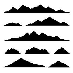 Mountain silhouette. Isolated set elements mountain landscape. Vector illustration.