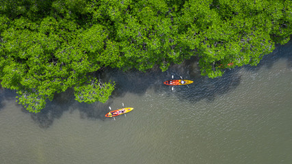 Aerial view of Ao Tha Lane near Krabi, Ao Tha Lane famous place for kayak on the river with mountain and mangrove forest, Krabi, Thailand.