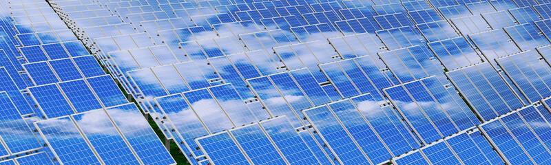 Solar panels - renewable energy concept. 3D rendering
