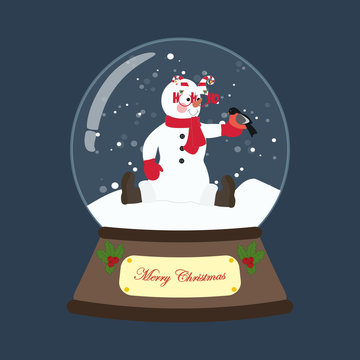 Snowman in christmas costume in snowball