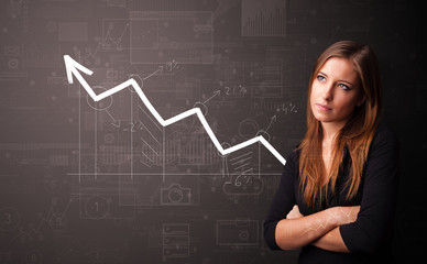 Young person standing with increasing graph concept
