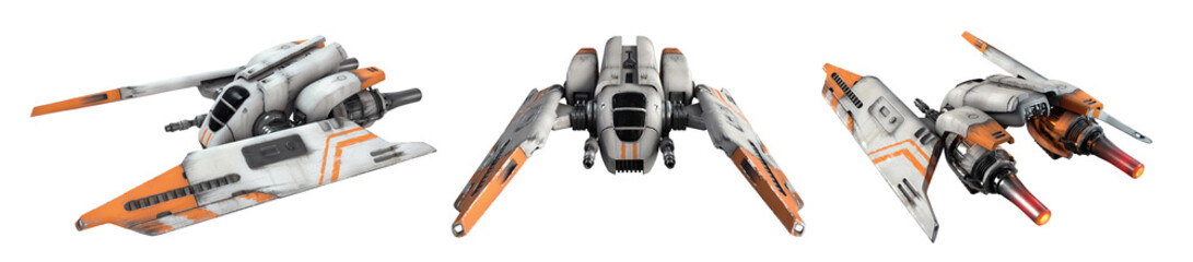 Collection of old scratched metal flying spaceship isolated on white background. 3d illustration of sci-fi white orange vehicle for space wars. Single pilot spaceship. Concept assault fighter, gunship
