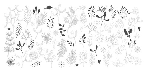 Set of black hand drawn christmas new year winter doodle icons xmas mistletoe pine cone, fir branch, snowflake, leaves isolated. Vector illustration in outline style