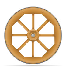wooden cart wheel with horse vector illustration