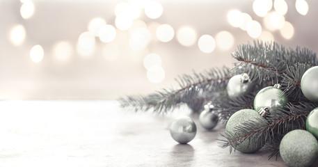 Christmas holiday background with Christmas tree and Christmas balls.