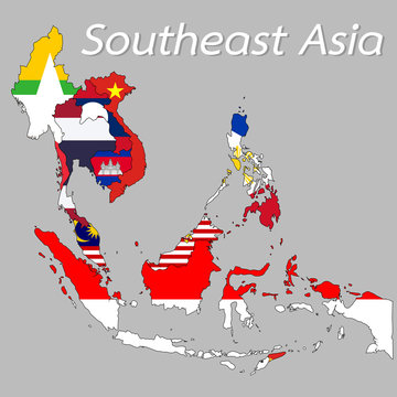 Southeast Asia map Displayed as the national flag of each country.