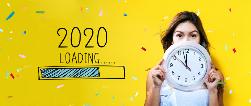 Loading new year 2020 with young woman holding a clock showing nearly 12