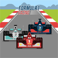 Foto auf Acrylglas F1 racing sport car vector
