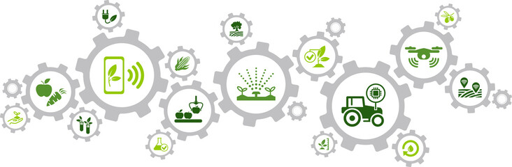 smart farm / agriculture technology / agritech icon concept – vector illustration