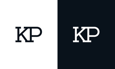 Obraz Minimalist line art letter KP logo. This logo icon incorporate with two letter in the creative way. - fototapety do salonu