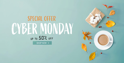 Wall Mural - Cyber Monday banner with autumn theme with coffee and gift box