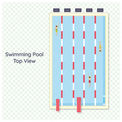 Olympic swimming pool deep bath lanes top view flat pictogram with clean transparent blue water vector illustration