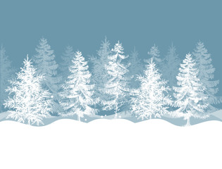 Poster Wit Christmas winter background. Pine trees forest landscape