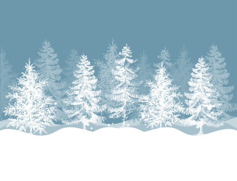 Christmas winter background. Pine trees forest landscape