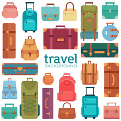 Set of suitcases icons in flat style. Travel bags.