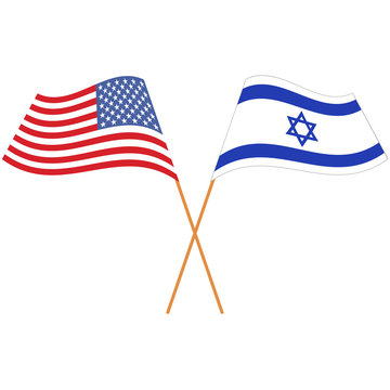 United States of America, State of Israel. National flags, icon set. Vector illustration on white background.