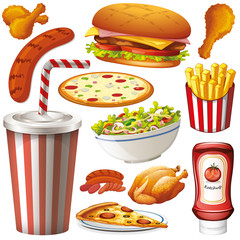 Set of isolated objects theme fastfood