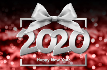 Fotomurales - 2020 happy new year number text in box frame with silver ribbon bow isolated on red blurred lights  background