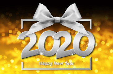 Fotomurales - 2020 happy new year number text in box frame with silver ribbon bow isolated on golden blurred christmas lights  background