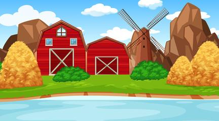 Farm scene in nature with barn
