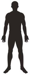 Silhouette man on white background
