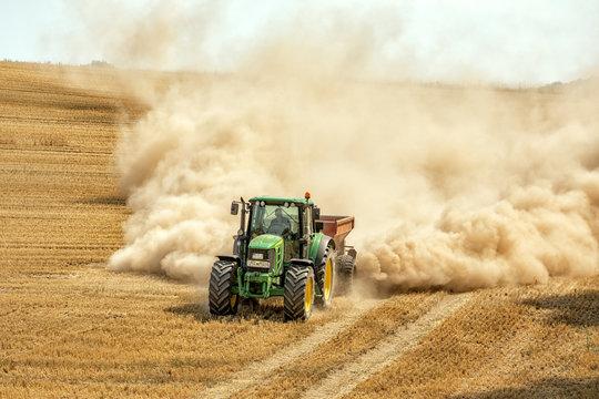 Applying Lime, John Deer (Tractor), Germany, Lower Saxony, July 2018, Editorial
