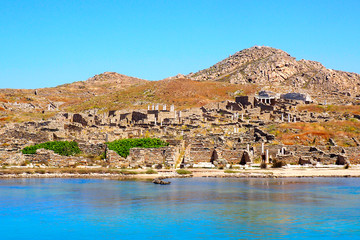 view from the sea of Delos, Cyclades island in the heart of the Aegean Sea