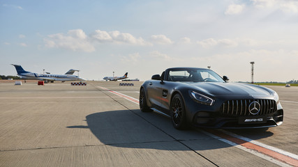 Kyiv, Ukraine - September 2, 2017: Mercedes Benz AMG GT 50 Edition sports car. A new 2017 supercar designed to celebrate the 50th anniversary of the AMG company