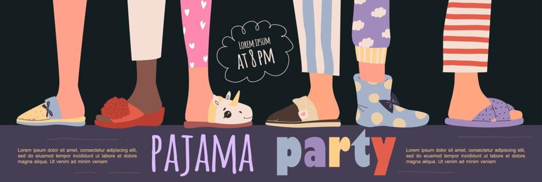 Colored pajama party poster. Vector template Slumber party