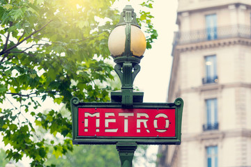PARIS - MAY 06: Retro red Subway Sign in Paris on May 06. 2017 in France
